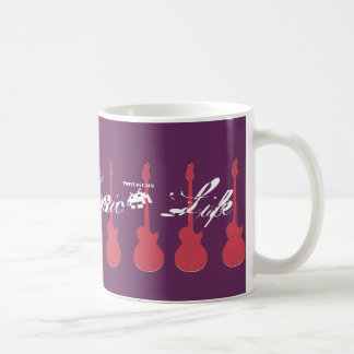 Beautiful guitar pattern with maroon backgound coffee mug