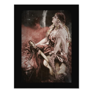 Beautiful Gypsy Woman with Guitar Card
