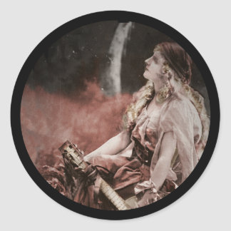 Beautiful Gypsy Woman with Guitar Classic Round Sticker