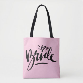 Beautiful hand lettered BRIDE wedding tote bag