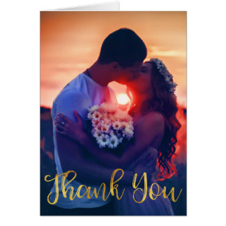 Beautiful Hand Lettered Gold Thank You Card