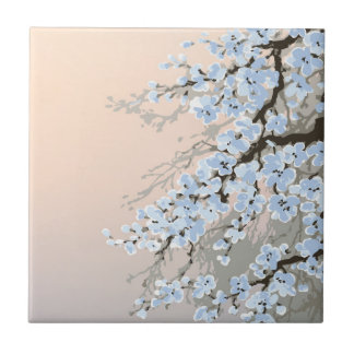 beautiful,hand painted,pale blue,cherry blossom tr tiles