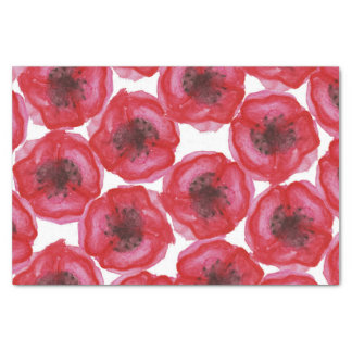 Beautiful Hand Painted Watercolor Poppy Flowers Tissue Paper