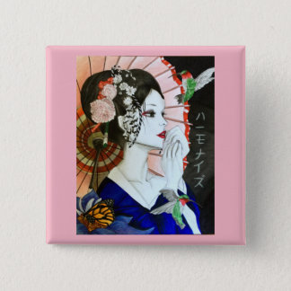 Beautiful Handrawn Japanese Woman With Butterfly 2 Inch Square Button