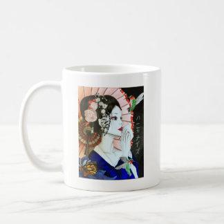 Beautiful Handrawn Japanese Woman With Butterfly Coffee Mug