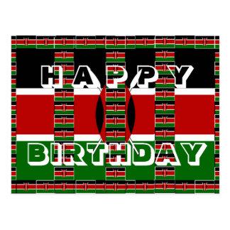 Beautiful Happy Birthday Black red green white Postcard