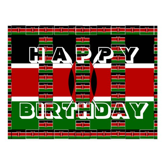 Beautiful Happy Birthday Black red green white Postcard