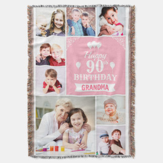 Beautiful Happy Birthday Photo Blanket for Grandma