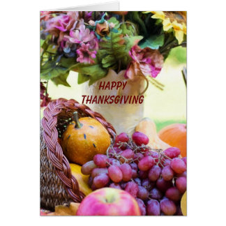 Beautiful Happy Thanksgiving Cornucopia Card