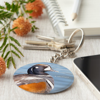 Beautiful Harlequin Duck on the Rock Keychain