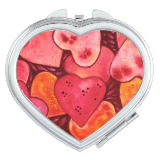 Beautiful Heart Watercolour Compact Mirror