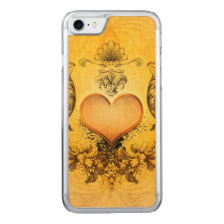 Beautiful heart with floral elements in soft yello carved iPhone 7 case