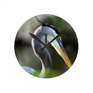Beautiful Heron Round Clock