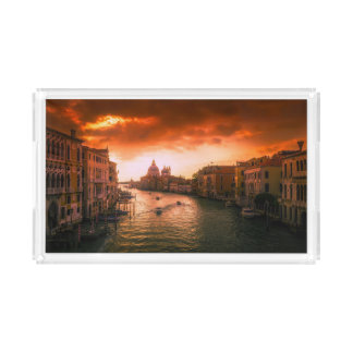 Beautiful historic venice canal, italy acrylic tray
