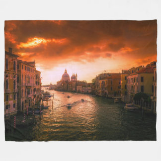 Beautiful historic venice canal, italy fleece blanket