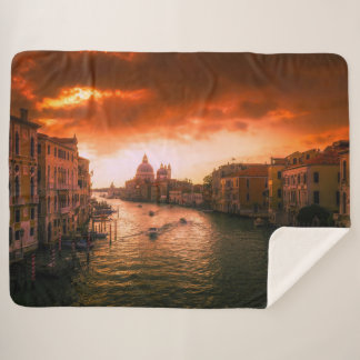 Beautiful historic venice canal, italy sherpa blanket