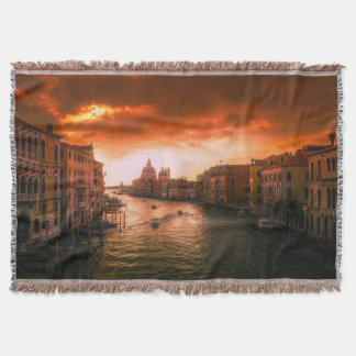 Beautiful historic venice canal, italy throw blanket