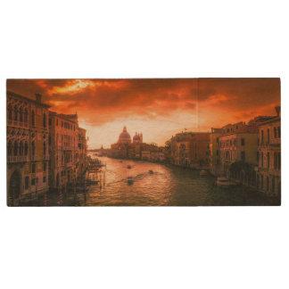 Beautiful historic venice canal, italy wood USB flash drive
