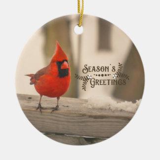 Beautiful Holiday Cardinal in Snow Ceramic Ornament