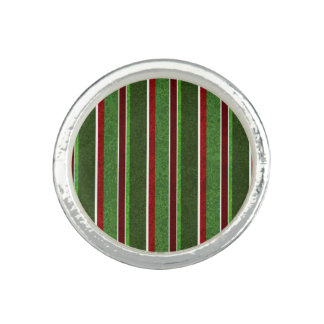Beautiful Holiday Red and Green Stripe Pattern Ring