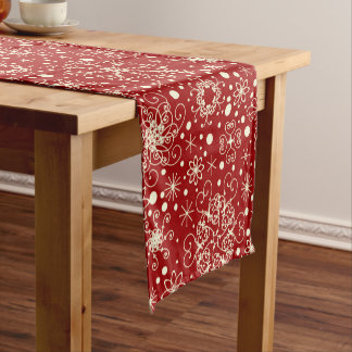Beautiful Holiday Sparkle Snowflake Pattern Short Table Runner