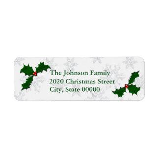 Beautiful Holly Christmas RA Return Address Label