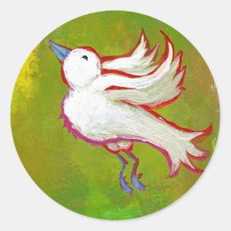 Beautiful hopeful inspirational white bird fun art classic round sticker
