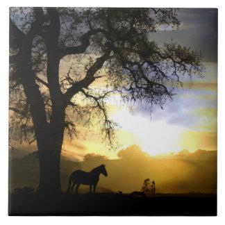 Beautiful Horse and Oak Tree Art Tile