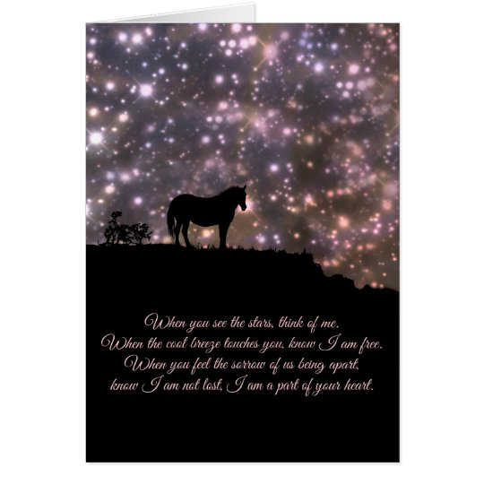 Beautiful  Horse and Poem Sympathy  Card