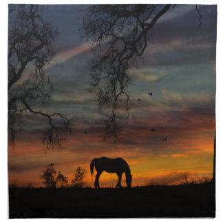 Beautiful Horse and Sunset Cloth Napkins