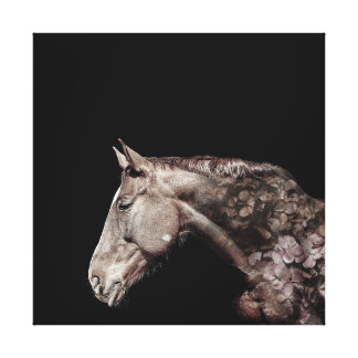 Beautiful  Horse Flower Double Exposure Portrait Canvas Print