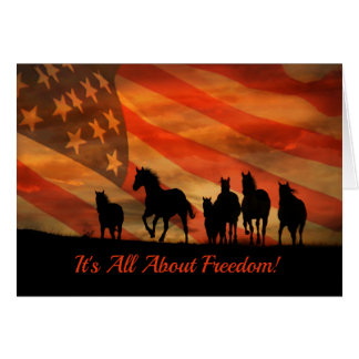 Beautiful Horse Freedom Fourth of July Card