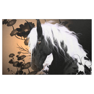 Beautiful horse in black and white fabric