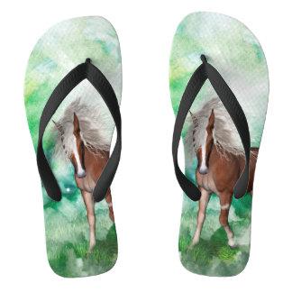 Beautiful horse in wonderland flip flops