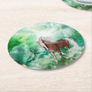 Beautiful horse in wonderland round paper coaster