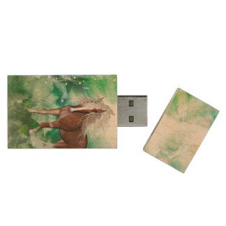 Beautiful horse in wonderland wood USB 2.0 flash drive