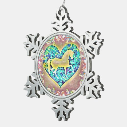 Beautiful Horse Pewter Snowflake Ornament