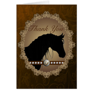 Beautiful Horse Silhouette Western Thank You Card