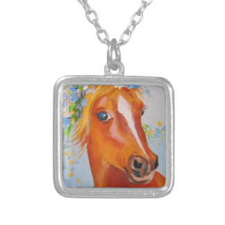 Beautiful horse silver plated necklace