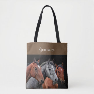 BEAUTIFUL HORSES PORTRAIT. HORSE FACE CLOSEUP TOTE BAG