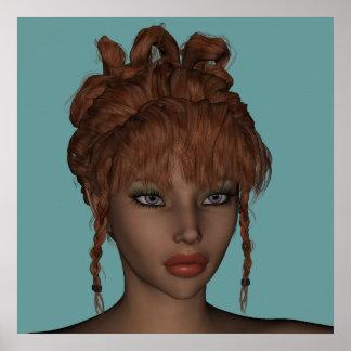 Beautiful Hot 3D Redhead Woman Model Digital Art Poster