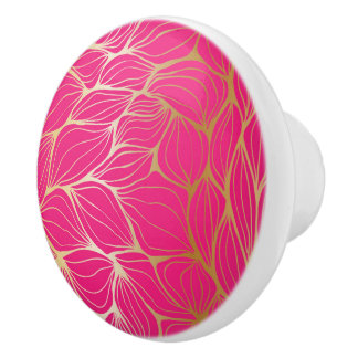 Beautiful,hot pink,faux gold,leaf,pattern,trendy,m ceramic knob