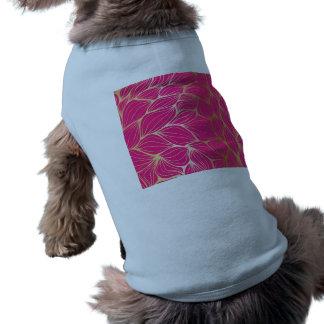 Beautiful,hot pink,faux gold,leaf,pattern,trendy,m doggie t-shirt