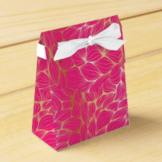 Beautiful,hot pink,faux gold,leaf,pattern,trendy,m favor boxes