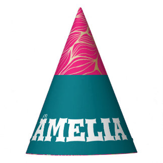 Beautiful,hot pink,faux gold,leaf,pattern,trendy,m party hat