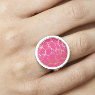 Beautiful,hot pink,faux gold,leaf,pattern,trendy,m ring