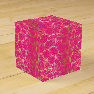 Beautiful,hot pink,faux gold,leaf,pattern,trendy,m wedding favor box