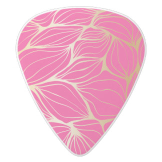 Beautiful,hot pink,faux gold,leaf,pattern,trendy,m white delrin guitar pick