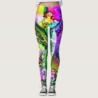 Beautiful Humming Bird Watercolor Scene Leggings