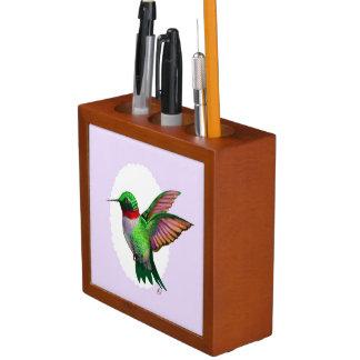 Beautiful Hummingbird Desk Organizer Illustration